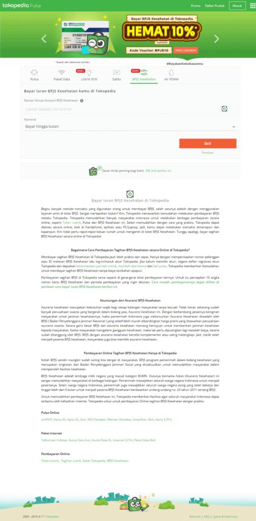 Bayar Iuran BPJS Kesehatan via Tokopedia
