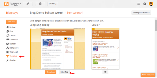 cara edit HTML di blog