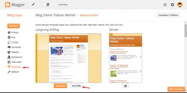 cara edit HTML di blog