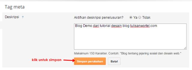 cara menampilkan deskripsi blog yang benar