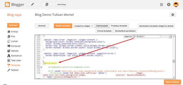cara mencari code di edit HTML blogger
