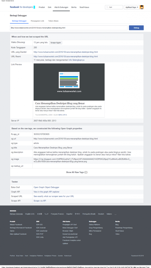 cara menguji open graph facebook di blog