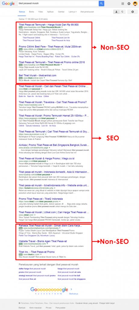 contoh blog tidak menggunakan seo dan menggunakan seo