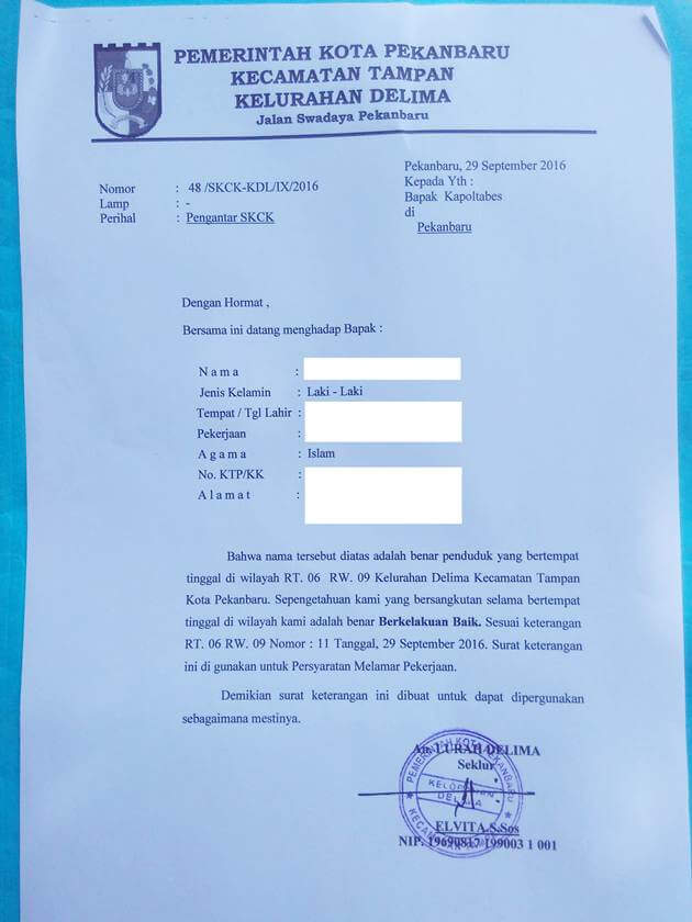 contoh surat pengantar kelurahan/desa