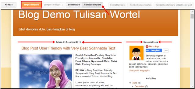 hasil widged dan tanggal postingan blog di tengah