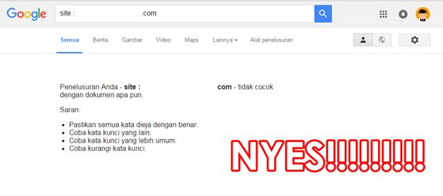 kata kunci tidak ditemukan di Google