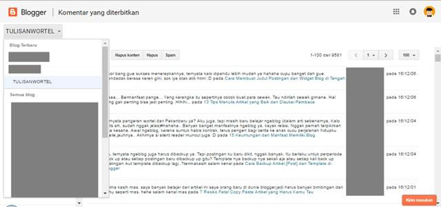 tampilan baru dashboard blogger
