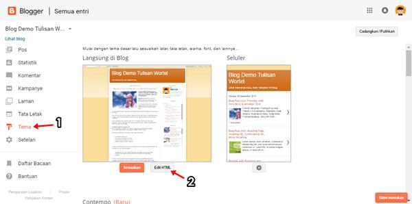 cara edit html di blogger