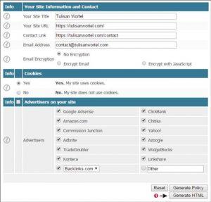 Cara Membuat Privacy Policy di Privacy Policy Online Generator