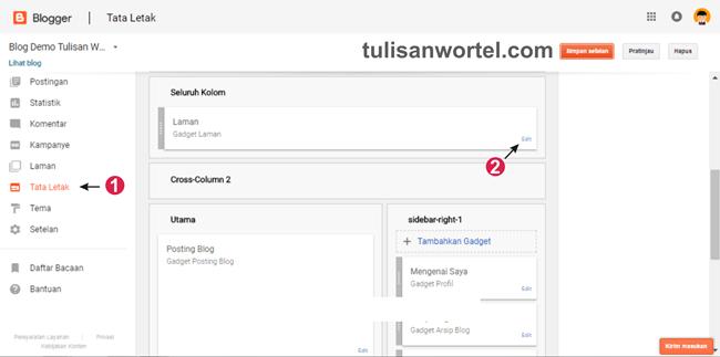 cara memasukkan postingan ke menu blog