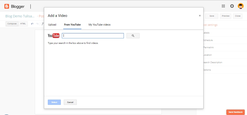 memasukkan video youtube di blog